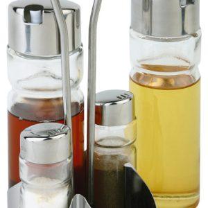 שמן-חומץ , מלח-פלפל, קיסמים וחרדל