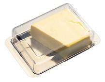 כלי לחמאה עם מכסה בסיס נירוסטה מכסה פוליקרבונט