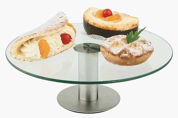 מעמד הגבהה לתצוגת עוגה בשילוב זכוכית ונירוסטה