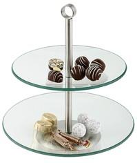מתקן 2 קומות זכוכית להצגת עוגות